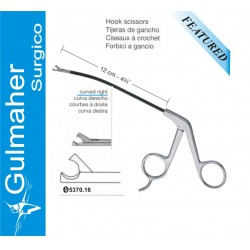 Endoscopic facelift rhytidectomy-Hook Scissors, Curved Right, 12cm