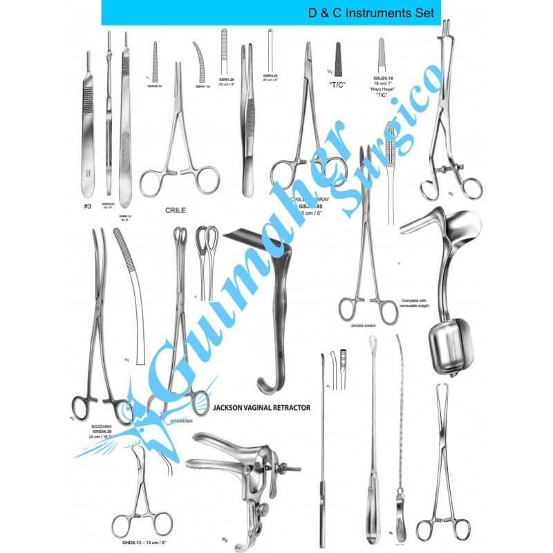 D and C Instruments Set|Dilation & Curettage|Gulmaher Surgico