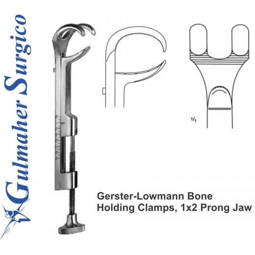 Gerster-Lowmann Bone Holding Clamps, 1x2 Prong Jaw